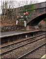 SO8963 : Semaphore signal bracket DS8 on platform 2, Droitwich Spa railway station by Jaggery