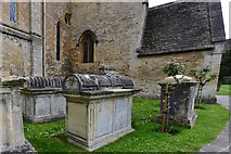 SP1106 : Bibury, St. Mary's Church: c17th and c18th table tombs some with barrel tops by Michael Garlick