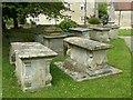 ST8291 : Tombs in the churchyard, Leighterton by Alan Murray-Rust