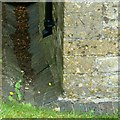 ST8291 : Bench mark, St Andrew's Church, Leighterton by Alan Murray-Rust