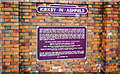 SK5056 : Kirkby-in-Ashfield: plaque at new station on Robin Hood Line, 2000 by Ben Brooksbank