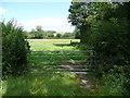 SE2847 : Field gate on footpath off Back Lane, Weeton by Humphrey Bolton