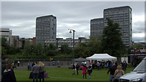 NS5964 : Tower blocks at the Gorbals from Glasgow Green by Mike Pennington