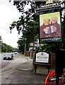 ST2179 : Monkstone Inn name sign, Newport Road, Rumney, Cardiff by Jaggery