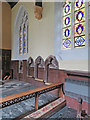 SK7039 : Bingham: All Saints - piscina, sedilia and Victorian glass by John Sutton