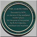 SS9646 : The Almshouses green plaque, Market House Lane, Minehead by Jaggery