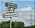 J3195 : Direction signs, Ballyboley near Ballynure (July 2017) by Albert Bridge