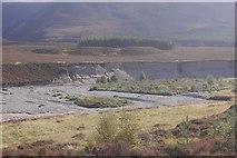 NN8596 : Terraces, Glen Feshie by Richard Webb