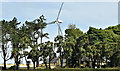 J4691 : Wind turbine, Knocknagulliagh near Whitehead - July 2017(1) by Albert Bridge