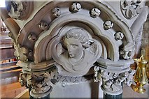 SO7137 : Ledbury, St. Michael and All Angels Church: The 1850 Sir George Gilbert Scott stone  font 3 by Michael Garlick