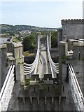 SH7877 : Thomas Telford's suspension bridge seen from Conwy Castle by Rod Allday