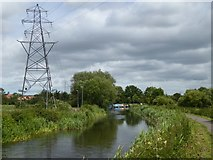 ST2426 : Power lines crossing Bridgwater and Taunton Canal by David Smith