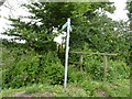SO9656 : Footpath sign and footbridge, Grafton Flyford by Jeff Gogarty