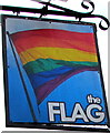SO8555 : Multicoloured Flag name sign, Lowesmoor, Worcester by Jaggery