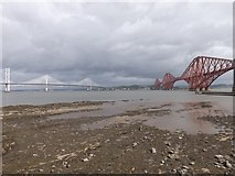 NT1378 : The Forth bridges from Queensferry beach by Stephen Sweeney