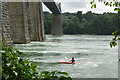 SH5571 : Menai Strait and Menai Suspension Bridge by Stephen McKay