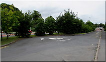 SO9233 : Ashchurch side road mini-roundabout by Jaggery