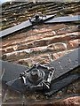 NY4055 : Decorative iron fixings on viaduct wall bracing by Rose and Trev Clough
