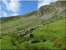NY2114 : Valley side, Honister Pass by Hugh Venables