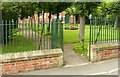 SK4236 : Gateway and railings, The Moravian Church, Ockbrook by Alan Murray-Rust