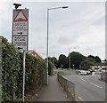ST2994 : Humps warning sign, Victoria Street, Cwmbran by Jaggery