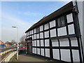 SO5040 : Black and white building, Gunners Lane, Hereford by Jaggery