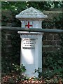 TQ0482 : Coal tax boundary post no.67, Iver Lane bridge over the River Colne by Mike Quinn