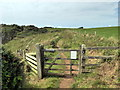 SS0897 : Gate on Pembrokeshire Coast Path near Lydstep by PAUL FARMER