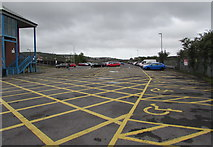 SS7597 : Yellow marked area at the northern end of Milland Road Car Park, Neath by Jaggery