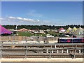 SU6974 : View from a Reading-Swindon train - Reading Festival by Nigel Thompson