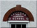 H3041 : Lettering above Tattygar School door entrance by Kenneth  Allen
