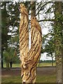 NZ1266 : Sculpted tree trunk, Close House Golf Course by Andrew Curtis