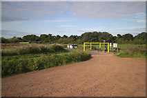 NT6578 : Car Park Height Restriction, Belhaven Bay by Mark Anderson