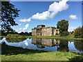 SJ9682 : Lyme Hall reflected in the lake by Graham Hogg