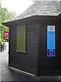 NY2623 : Flood level marker, Fitz Park kiosk by Rose and Trev Clough