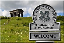 NZ3354 : Penshaw Monument And Sign by Keith Evans