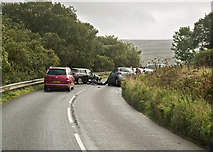SS6644 : A road traffic accident on the A39 near Parracombe by Roger A Smith