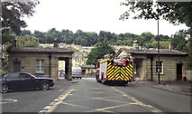 ST7565 : Fire engine on Cleveland Bridge Bath by John Firth