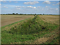TL6394 : Ditch and stubble fields by Hugh Venables