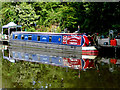 SO8690 : Moored narrowboat south-east of Swindon, Staffordshire by Roger  Kidd