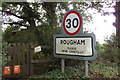 TL9162 : Rougham Village Name sign on New Road by Adrian Cable