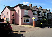 ST0881 : Pink house, Station Road, Creigiau by Jaggery
