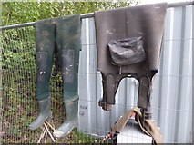 SO8843 : Waders on a construction site in Croome Park by Philip Halling