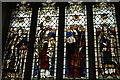 TL5338 : St Mary the Virgin, Saffron Walden: window showing four English saints by Christopher Hilton