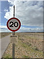 TQ9417 : Speed Limit Sign, Rye Harbour Nature Reserve by PAUL FARMER