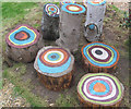 SP8509 : Painted Logs at Lindengate by Chris Reynolds