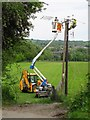 SJ2741 : Power line engineers at work by Stephen Craven
