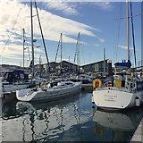 SY6874 : View to shore facilities, Portland Marina by Robin Stott