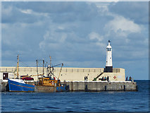 SC2484 : Fishing boat and lighthouse, Peel by Robin Drayton