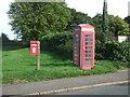 TF7022 : Elizabeth II postbox and telephone box on Lynn Road, Roydon by JThomas